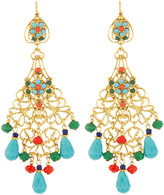 Jose & Maria Barrera Golden Filigree Chandelier Earrings w/ Multicolor Crystals & Beads