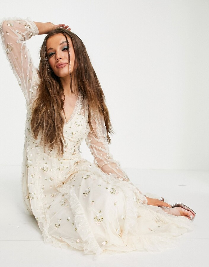 Thumbnail for your product : Needle & Thread Bridal Frieda Ditsy maxi dress with floral embroidery in ivory