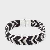 Paul Smith Black And White Chevron Stripe Silk Bracelet