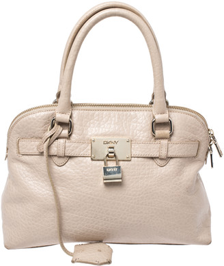 DKNY Beige Leather Dome Satchel