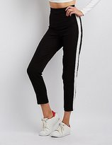 Charlotte Russe Striped High-Waisted Skinny Trousers