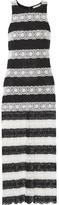 Alice + Olivia Lucia Striped Crocheted Maxi Dress - Black