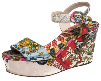 Dolce & Gabbana Multicolor Floral Printed Fabric Platform Wedge Sandals Size 38