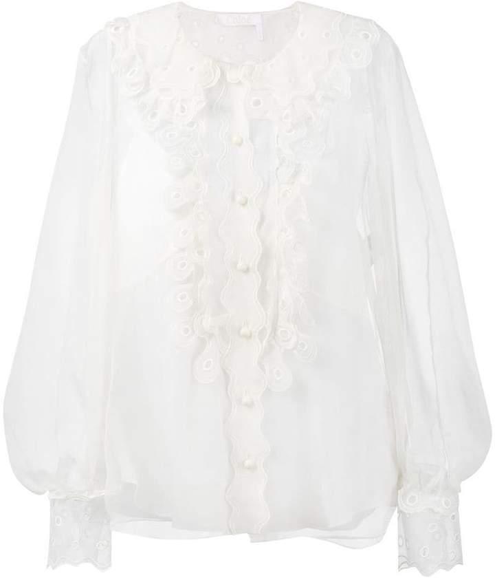 Chloé sheer ruffled blouse