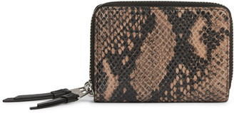 AllSaints Brune Snakeskin Embossed Leather Card Holder