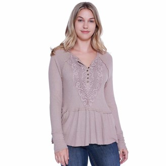 Taylor & Sage Women's Thermal Henley with Crochet Placket