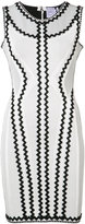Herve Leger zigzag applique fitted dress - women - Nylon/Spandex/Elastane/Rayon - S