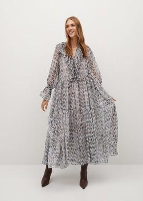MANGO Ruffled printed dress ecru - 4 - Women