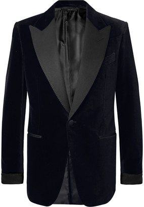 Tom Ford Black Shelton Slim-Fit Faille-Trimmed Cotton-Velvet Tuxedo Jacket
