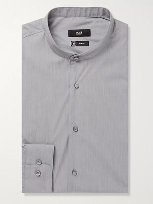 HUGO BOSS Grey Jordi Slim-Fit Grandad-Collar End-On-End Cotton-Blend Shirt