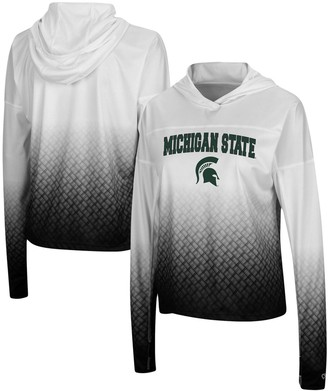 Colosseum Women's White/Black Michigan State Spartans Magic Ombre Hoodie Long Sleeve T-Shirt