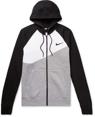 Nike Logo-Print Fleece-Back Cotton-Blend Jersey Zip-Up Hoodie