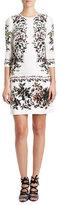 Erdem Emma Half-Sleeve Floral Shift Dress, White