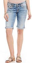 Silver Jeans Co. Suki Rolled Cuff Woven Stretch Denim Bermuda Shorts