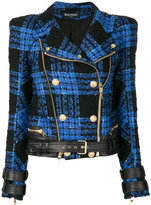 Balmain tweed biker jacket - women - Cotton/Lamb Skin/Acrylic/Wool - 38
