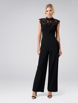 Forever New Louella Lace Bodice Jumpsuit - Black - 4