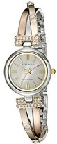 Anne Klein Women's 10/9479MPTR Tri-Tone Bangle Watch with Swarovski Crystal Accents