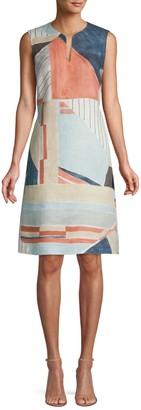 Lafayette 148 New York Taren Abstract Sleeveless Linen Dress