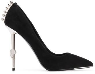 Philipp Plein 120mm skull metallic heel pumps