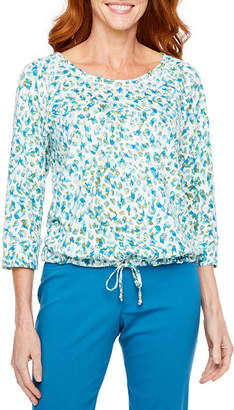 HEARTS OF PALM Hearts Of Palm Global Soul Womens Crew Neck 3/4 Sleeve Slubbed Blouse