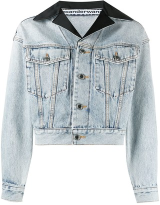 Alexander Wang Peak-Lapels Cropped Denim Jacket
