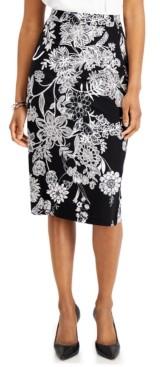 Kasper Printed Pencil Skirt