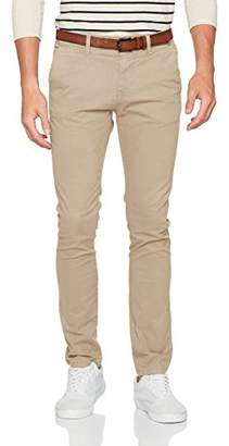 Tom Tailor Men's Skinny Chino Solid with Belt Trouser, Gravel Beige 8448, W32/L34 (Size: 32)