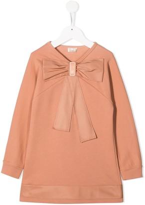 Elisabetta Franchi La Mia Bambina Bow-Embellished Cotton Dress
