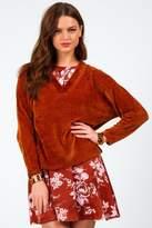francesca's Xandra Chenille Sweater - Rust