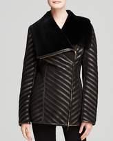 Maximilian Furs Maximilian Shearling Lamb Coat with Leather Inserts