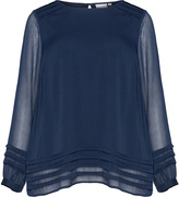 Junarose Plus Size Pleated sheer Chiffon blouse