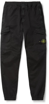 Stone Island Tapered Logo-Appliqued Cotton-Blend Cargo Trousers
