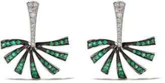 Brumani 18kt white gold Buriti diamond and emerald earrings