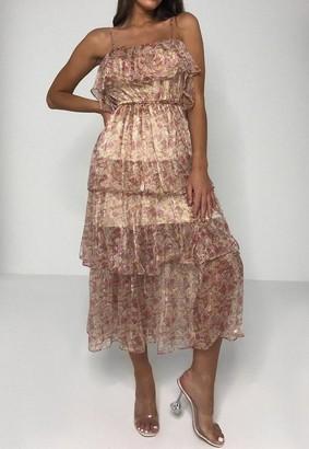 Missguided Floral Print Cami Tiered Midi Dress