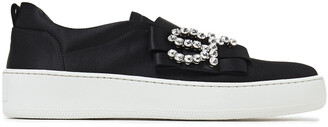 Sergio Rossi Bow-embellished Silk-satin Slip-on Sneakers
