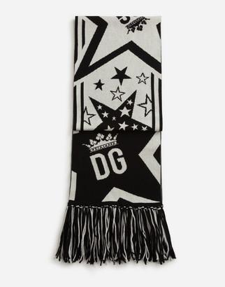 Dolce & Gabbana Wool And Cashmere Jacquard Millennials Star Scarf