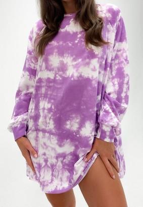 Missguided Lilac Tie Dye Oversized Sweater Dress