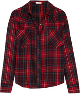 LnA Cropped plaid cotton-flannel shirt