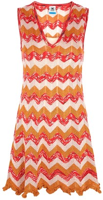 M Missoni Zigzag-intarsia cotton-blend mini dress