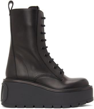 Valentino Black Garavani VLogo Platform Combat Boots