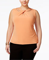 Nine West Plus Size Twist-Neck Cutout Shell