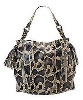 B. Makowsky Leather Hobo with Zipper Pockets and Tassel Detail