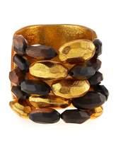 Viktoria Hayman Tiger Wood and Gold Bead Cuff Bracelet