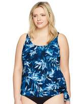 Maxine Of Hollywood Womens Plus-Size Wild Side Shirred Underwire Swimsuit Tankini Top with Adjustable Sides Tankini Top