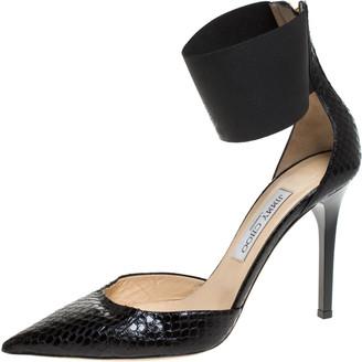 Jimmy Choo Black Python Leather Trinny Elastic Ankle Strap Pumps Size 39.5
