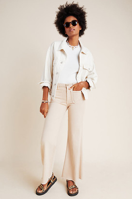 Mother The Roller Ultra High-Rise Wide-Leg Jeans By in Beige Size 27