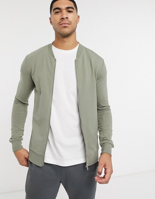 New Look muscle fit jersey bomber in khaki