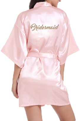 WPFING Bridal Bride Dressing Gown Satin Robe Gold Letter Silky Satin White/Medium