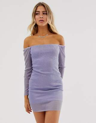 Bardot In The Style Metallic Sheer Dress-Purple