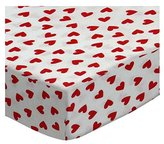 SheetWorld Extra Deep Fitted Portable / Mini Crib Sheet - Primary Hearts Woven - Made In USA